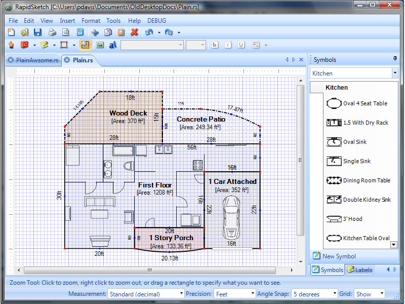 Create accurate floor plan layouts and calculate the area and perimeter.